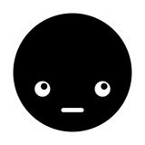 Cute black kawaii emoticon face Stock Photo