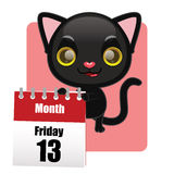 Cute black kitten with calendar Royalty Free Stock Photo