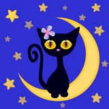Cute Black kitten on the moon Royalty Free Stock Image