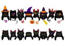 Cute black kitties border set. With Halloween costumes stock illustration