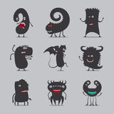 Cute black monsters icons Stock Photo