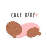 Cute black new boy baby girl. Vector cartoon illustration Royalty Free Stock Photo