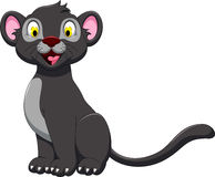 Cute black panther cartoon in the jungle Royalty Free Stock Photography