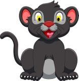 Cute black panther cartoon sitting Royalty Free Stock Image
