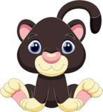 Cute black panther cartoon Stock Image