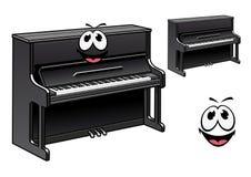 Cute black piano cartoon character Royalty Free Stock Image