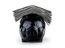 Cute black piggybank Stock Image
