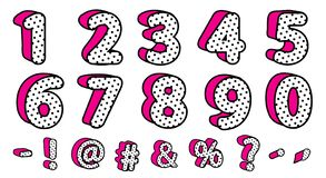 Cute black polka dots 3D set of numbers and signs. Vector LOL girly doll surprise style. stock illustration