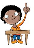 Cute black school girl raise hand in class. Vector illustration Stock Images