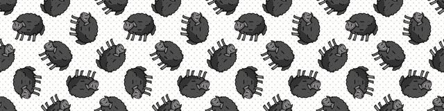 Cute black sheep cartoon seamless vector border. Hand drawn agriculture livestock. Farm animal all over print on check
