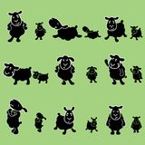 Cute black sheep poses design set. Vector set containing 9 black sheep poses, bigger version is completely editable, with all elements of the face and body stock illustration
