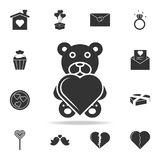 Cute black teddy bear with heart icon. Detailed set of signs and elements of love icons. Premium quality graphic design. One of th. E collection icons for Stock Photos