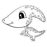Cute Black and White Cartoon  Baby Parasaurolophus Dinosaur Stock Image