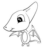 Cute Black and White Cartoon of Baby Pterodactyl Dinosaur Stock Photo