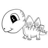 Cute Black and White Cartoon  Baby Stegosaurus  Dinosaur Royalty Free Stock Photo