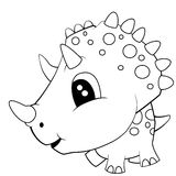 Cute Black and White Cartoon of Baby Triceratops Dinosaur Royalty Free Stock Photos