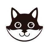 Cute Black and white cat, cartoon flat icon design Stock Photos
