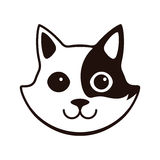 Cute Black and white cat, cartoon flat icon design Stock Images