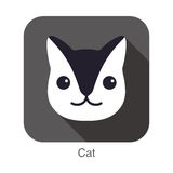 Cute Black and white cat, cartoon flat icon design Stock Photo