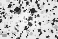 Cute black white cubes falling, white background. Smooth and glossy black and white cubes falling over white background. Concept of future technology, art and Royalty Free Illustration
