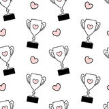 Cute black white pink seamless pattern background illustration with lovely cartoon trophy with hearts Royalty Free Stock Image