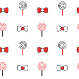 Cute black white red cartoon bow ribbon and lollipop seamless pattern background illustration Royalty Free Stock Photography