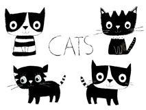 Cute black and white vector cats. Cartoon black and white vector cats in flat style with hand painted look Royalty Free Stock Images