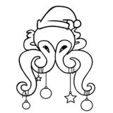 Funny cartoon octopus with xmas baubles vector illustration