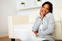 Cute black woman smiling at you Royalty Free Stock Images