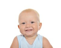 Cute blond baby boy looking away. On a white background Royalty Free Stock Images