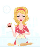 Cute blond baking. A vector illustration of a cute blond girl baking stock illustration