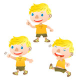 Cute blond boy. Walking and talking Royalty Free Stock Photo