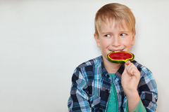 Cute blond boy with blue eyes dressed in checked shirt licking lollipop having happy expression looking aside on white background. Royalty Free Stock Photography