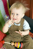 Cute blond boy one years old Stock Photo