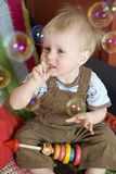 Cute blond boy one years old Stock Images