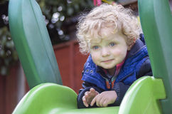 Cute Blond Boy  at the Playground Stock Images