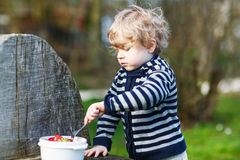 Cute blond boy of two years eating strawberries outdoors Royalty Free Stock Photo
