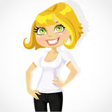 Cute blond business lady shows T-shirt under print of your logo Royalty Free Stock Photography