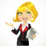 Cute blond business woman explains something Stock Images