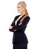 Cute blond business woman on white Royalty Free Stock Images