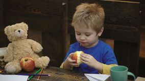 Cute blond child boy sitting in wooden chair and eating big red apple on wooden background. School break. Hungry kid. Biting apple in classroom. Small boy stock video footage