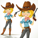 Cute blond cowgirl with revolver Royalty Free Stock Photo
