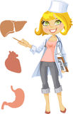 Cute blond doctor - indicating that the liver, he Stock Photos