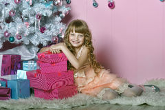 Cute blond girl in christmas Royalty Free Stock Photo
