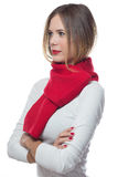 Cute blond girl with red scarf. Beautiful blond girl with red scarf Stock Photos