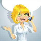 Cute blond girl talking on the phone Stock Photo