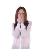 Cute, blond girl terrified look on the front Royalty Free Stock Photos