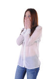 Cute, blond girl terrified look on the side Royalty Free Stock Image