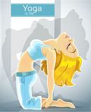 Cute blond girl in a yoga pose of camel Stock Image