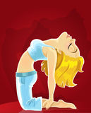 Cute blond girl in a yoga pose of camel on red Royalty Free Stock Photo